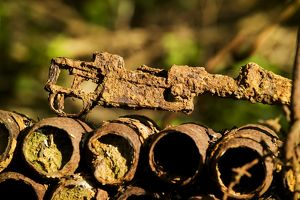 Munitions in a private garden - Somme Battlefield