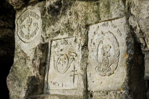 Regimental badges carved at Carriere de la Fosse aux Ours